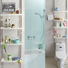 4 Tier Plastic Shower Caddy Adjustable Bathroom Organiser storage Shelf Stand
