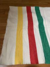 Vintage Hudson Bay Style 3 Striped Camp Blanket - 65 X 80 - Euc