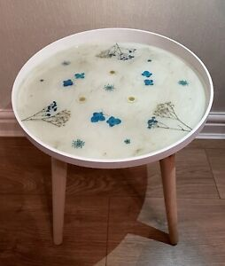 Handmade Bespoke Resin Tray Side Table - Blue Floral & Gold