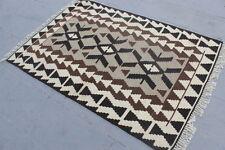 "Vintage Handmade Turkish  Wool Brown Area Kilim Rug 160x108cm, 64""x43"""