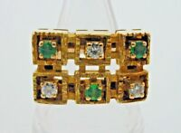 Diamond & Emerald 18 Ct Gold Rectangular Geometric Brutalist Ring 11.6g size O
