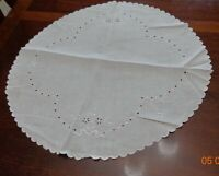 """Vintage Eyelet Round white cotton table topper 23"""" by 24"""""""