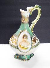 Lovely Antique Vintage Victorian Hand Painted Cameo Flower Porcelain Gold Vase