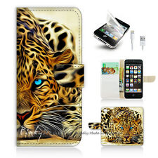 ( For iPhone 5 / 5S / SE ) Wallet Case Cover! Blue Eye Leopard P0354