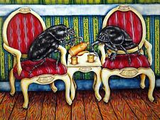DUNG BEETLE TEA TIME insect 13x19  art print animals impressionism artist