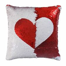 Corazón Amor inversa Lentejuelas Filp Rojo Blanco Funda de cojín 43.2cm – 43 cm