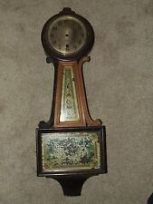 Antique SESSIONS Banjo Clock Regulator Wall Clock Case for Parts or Repairs