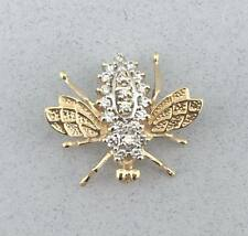 Gorgeous Estate Solid 14k Yellow Gold and 0.32 TCW Diamond Bug Bee Insect Brooch