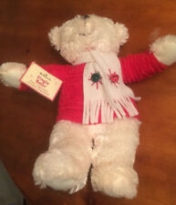 "Hallmark Musical Jingle Bear-Plush White with Red Sweater-14""-New-SHIPS FREE"