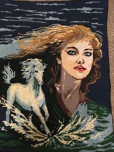 Vintage Diamant Tapestry Picture - Beautiful Girl with a White Stallion