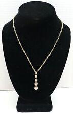 "Judith Ripka CZ Diamonique pendant 925 Silver Clad Gold Plated necklace 20"""