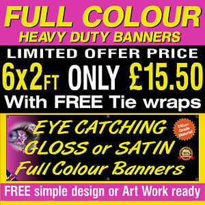 6ft x 2ft PERSONALISED  PVC Outdoor Banner Advertising Sign 1001