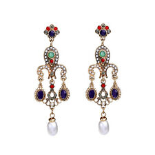 Multicolor Faceted Oval Pendant Drop Earring Simulated Pearl Pave Vintage Bijoux