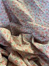 "Vintage Fabric Flour Feed Sacks Fabric petite Pink & Peach Flowers 64"" x 77 Sewn"