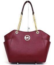 Michael Kors Jet Set Travel Large Chain Shoulder Tote Handbag Cherry Leather New