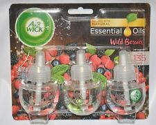 3 AIR WICK NATURAL ESSENTIAL OILS WILD BERRIES FRAGRANCE REFILLS AIR FRESHNER