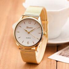 Moda Para Mujer Clásico Cuarzo Oro Lujo Acero Inoxidable Reloj De Pulsera
