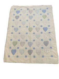 Vintage Quilt with Light blue & Light Green hearts