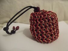 Iron Man Large Chainmaille Chainmail Dice Bag Pouch Red Gold Marvel Superhero 5e