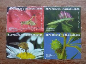 MADAGASCAR 1999 block of four (4) INSECTS stamps MNH