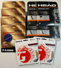 10 sets racquetball strings, Head Megablast 16 and 17, E-Force Oxygen 16 and 17