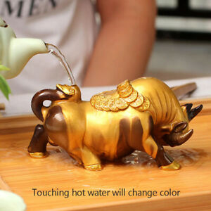 New Release 2021 Lucky Bull Chinese Ox Tea Pet Color Changing Feng Shui Oxen