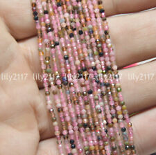 """Beauty 2mm Faceted Multi-Color Tourmaline Gemstone Round Loose Beads 15.5"""""""