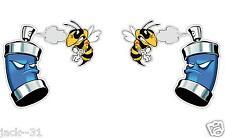 "2 FUNNY KILLER BEE SPRAYED SKIDOO SKI-DOO DECAL STICKER GRAPHIC 6X6"" EACH"