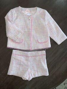 Janie And Jack Girl's Pink Boucle Set Jacket & Shorts Size 5