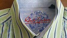 ROBERT GRAHAM blue green striped shirt light blue white flip cuff fancy collar