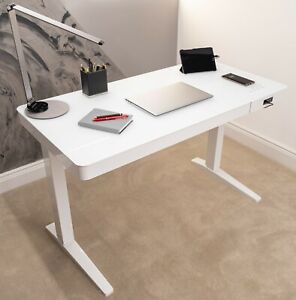 Dual Motor Electric Glass Sit Stand Desk - White