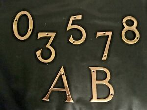 SOLID POLISHED BRASS NUMBER LETTERS + Screws SIZE 75mm numbers 0 1 2 3 5 7 8 A B