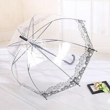 Transparent Manual Open Rain Umbrella Clear Windproof Dome Curved Handle