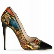 Europe Women's Snakeskin Patttern Pointy Toe Stilettos Heel Prom Court Shoes L