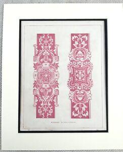 1859 Print Arabesque Architecture Decorative Border Design Antique Original