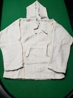 White Baja Pullover Hoodie Shirt Mexican Surfer Drug Rug Hoodie large