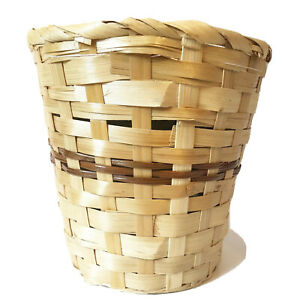 Tan Brown Woven Basket Small Plant Pot Holder Catch All Storage