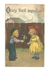 OBEY THAT IMPULSE Boy Giving Girl Daisies Antique PC Postcard