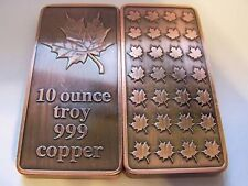 Canadian Maple Leaf 10 Troy Ounce .999 Fine Copper Bar - UNCIRCULATED