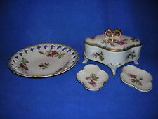 "4 Lefton ""Moss Rose"" pieces - open lace plate, jewelrybox w/lid, 2 pats"