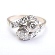 Jugendstil Diamantring, Toi et Moi Ring, 14 Karat Gold, RG 61, 5,3 Gramm