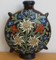 Vintage Ceramic Canteen Flask Vase Rosemaling Made in Switzerland Antique?
