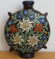 Vintage Antique? Ceramic Canteen Flask Vase Rosemaling Made in Switzerland