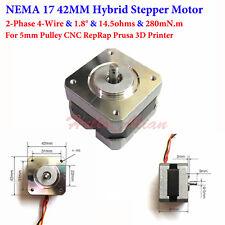 2-Phase NEMA 17 Hybrid Stepper Motor for 5mm Pulley CNC RepRap Prusa 3D Printer