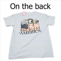 NWT Itsa Girl Thing Dog Bless America Blue T-Shirt Medium