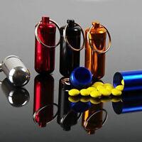Portable Aluminum Pill Box Case Bottle Cache Drug Holder Keychain Container