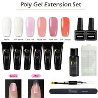 Coscelia 6 Colors Poly UV Gel Kit Top Base Coat Extension Gel Kit Nail Tips Brus