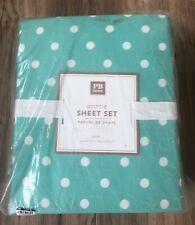 NWT Pottery Barn Teen PBT Dottie Polka Dot Cotton Queen Sheet Set Teal Pool
