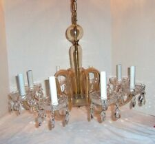 VINTAGE AMBER GLASS AND CRYSTAL CHANDELIER 8 LIGHT PENDANT