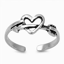 Heart with Arrow Toe Ring Sterling Silver